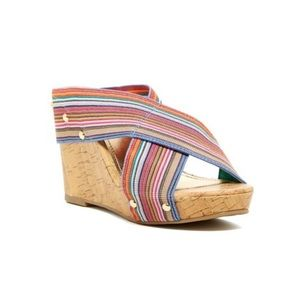 Madden Girl Nautic Multicolored Wedges Size 7.5